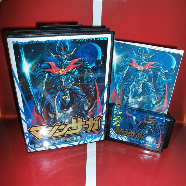 MD games card   Mazin Saga Japan Cover with Box and Manual for MD MegaDrive Genesis Video Game Console 16 bit MD card