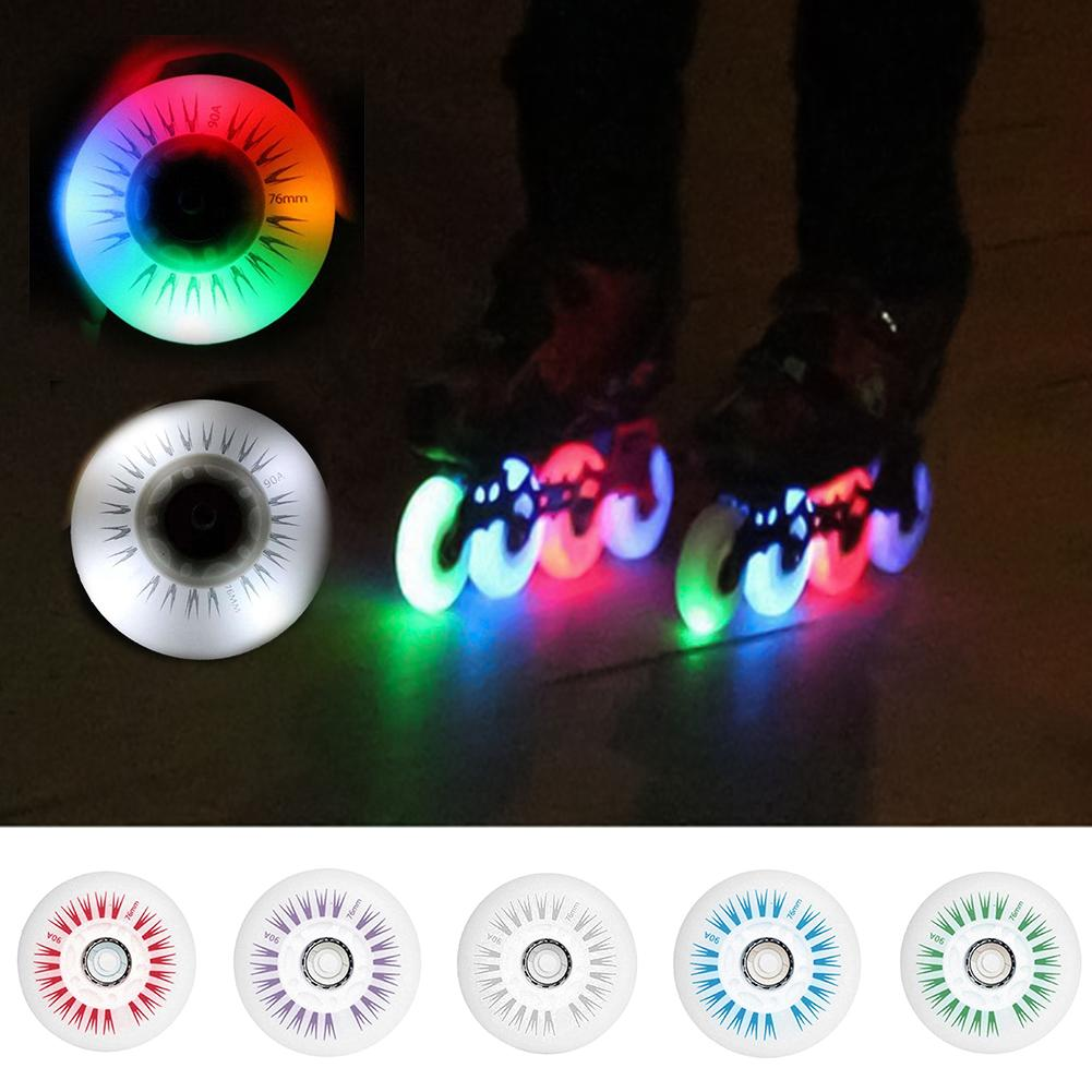 76mm In-line Speed Skate Skating Sliding LED Light Flashing Pulley Roller wheels Accessories Replacement Parts