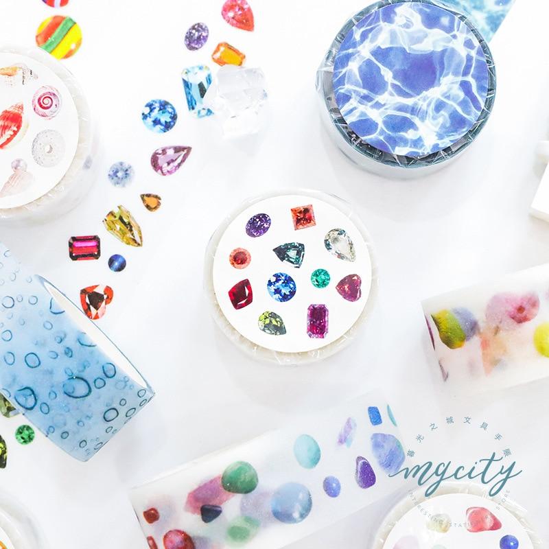 1 Roll Fresh Natural Stones Shells Diamond Glass Balls Masking Tape Album Scrapbooking Decor Label Washi Tape 25mm*3m