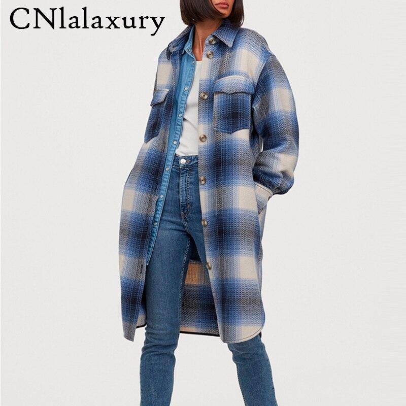 Новая Винтажная клетчатая длинная куртка, пальто для женщин 2020, осенняя рубашка, куртки для женщин, уличная одежда большого размера плюс, женские шерстяные пальто|Куртки|   | АлиЭкспресс