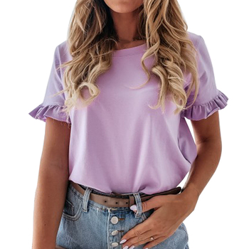 Sexy O neck Solid Color Tee Tops Purple Blouse Summer Women Shirts 2020 Short Sleeve Casual Loose Ruffle Ladies Blouses
