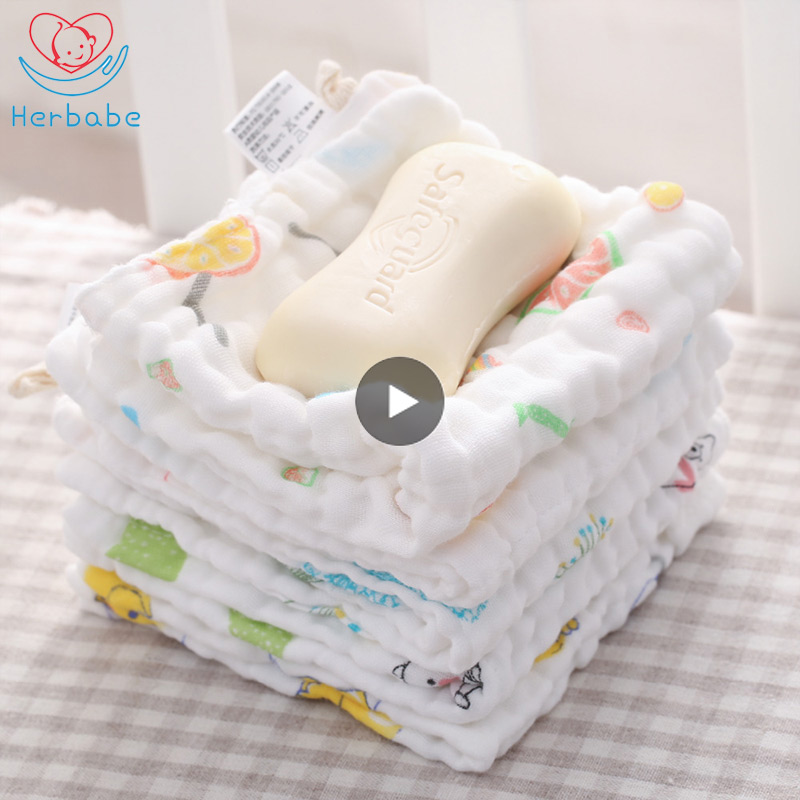 Herbabe 5pcs Baby Face Towel Set 6 Layers 100% Cotton Bath Towel Feeding Wipe Burp Newborn Handkerchief Washcloth Saliva Cloths