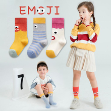 3pairs/lot  Cartoon Emoji Print Socks Kids Soft Long Cotton Girls Boys Warm Funny Children 3-12T Calcetines Autumn