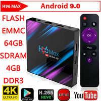 H96 Max RK3318 caja de TV inteligente Android 9,0 reproductor multimedia 2,4G/5G Dual Wifi H96Max 4G 32G/64G 4K HDR Mini caja pantalla LED