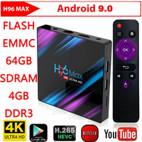 H96 Max RK3318 Smart TV Box Android 9.0 Media player 2.4G/5G Dual Band Wifi H96Max 4G 32G/64G 4K HDR Mini Box LED Display