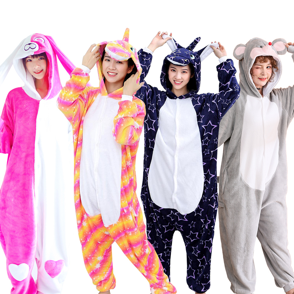 KIGUCOS Flannel Warm Pajamas For Women Winter Pyjama Onesies Unisex Cartoon Costumes New Year Gift Lovely Sleepwear