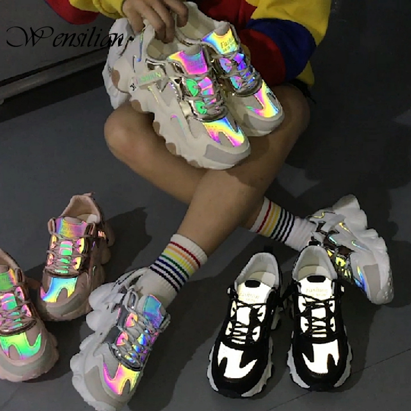 Reflective Women Sneakers Fashion Dad Shoes White Chunky Sneakers Platform Sneakers Womens Vulcanize Shoes Tenis Feminino 2020