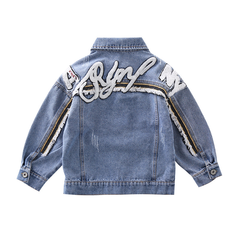 Image 3 - Girl Coats Kids Spring Autumn Denim Jackets for Girls Letter Embroidery Clothes Blue Cotton Jeans Outerwear Tops Kid Clothes NewJackets & Coats   -