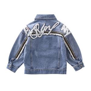 Image 3 - Kız mont çocuklar bahar sonbahar Denim ceketler kızlar için mektup nakış elbise mavi pamuk kot kabanlar Tops çocuk giysileri yeni