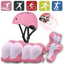 Hirigin 7 pçs/set crianças menino menina capacete de segurança na altura do joelho cotovelo almofada define ciclismo skate bicicleta capacete proteção segurança guarda