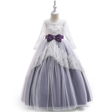 От 3 до 8 лет милое детское платье с цветочным узором для девочек для Свадебная вечеринка Пышное длинное, кружевное до пола платье для девочек es с