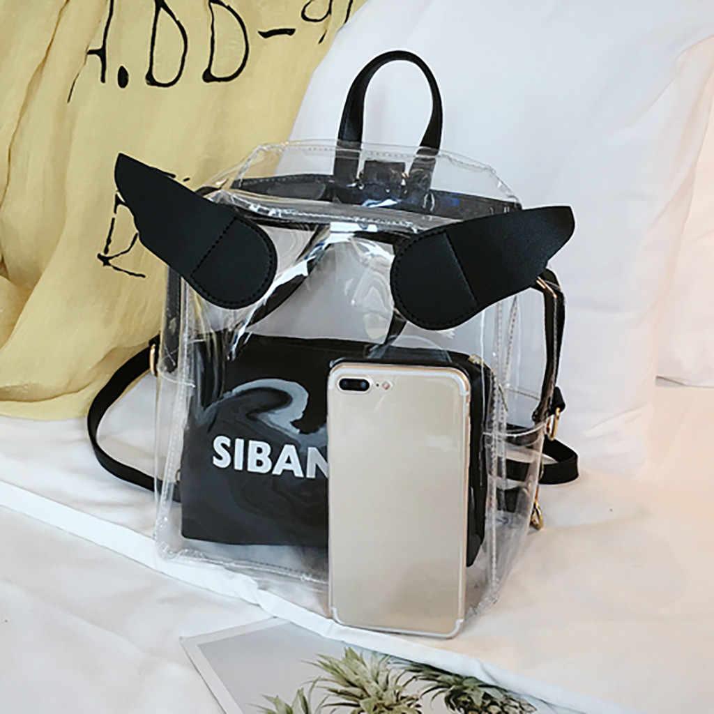 Woman Mini Shoulder Bag 2020 Girls Jelly Backpacks Teenager Transparent Clear Bags Kawaii Shopping Bags Bolsa Fenimina 2Pcs Bag