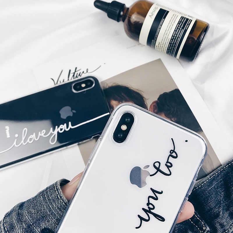 Casais Caso de Telefone Para o iphone 7 8 6 Lovebay 6s Plus 5S SE X XR XS Max Carta Transparente coque do amor Macio TPU Silicone Tampa Traseira