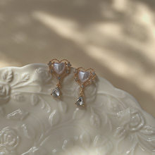 Retro Court Style, Gentle, Delicate And Elegant Heart-Shaped Zircon Water Drop Earrings