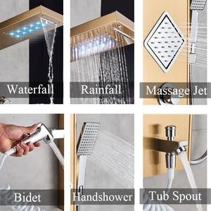 Image 2 - Uythner Luxury Gold/Black Bathroom Shower Faucet LED Shower Panel Column Bathtub Mixer Tap W/Hand Shower Temperature Screen