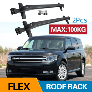 Car Luggage Rack Crossbar Roof Rack FOR Ford Flex 4 DOOR SUV 2009-2019 2018 2017 2016 LOAD 100KG BAR LED Roof Rails image