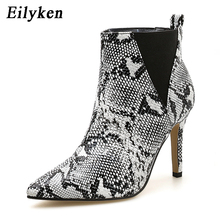 Eilyken 2020 New Slip-On Boots Snake Print Ankle Boots For W