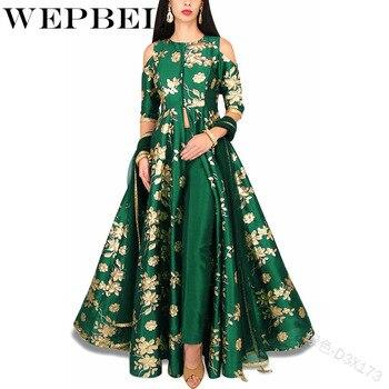 WEPBEL Women s Muslim Print Maxi Dress Noble Abaya 2 pieces set Chiffon Long Robe