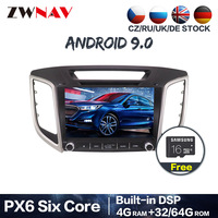 PX6 4+64G Android 9.0 car dvd gps multimedia player For hyundai creta ix25 car dvd navigation radio video audio player head unit