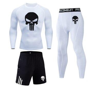 3 Piece Men's Full Suit Tracksuit MMA Tactics winter thermal underwear Skull rashgard Male Compression sport Tights jogging suit 6