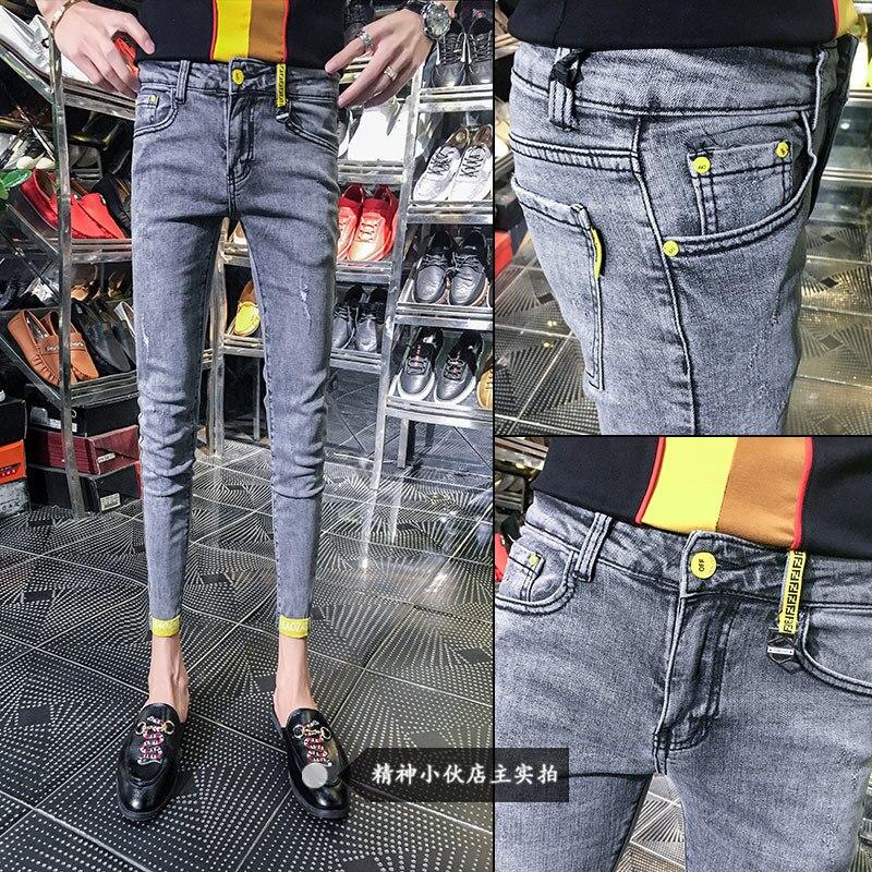 Wholesale 2019 spring summer thin Grey Slim teenagers male Cowboy skinny   jeans   homme men slim trousers Ankle length pencil pants
