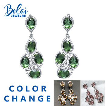 Bolaijewelry,Zultanite big earrings 925 sterling silver created color changeing gemstone fine jewelry top gift for women Wedding