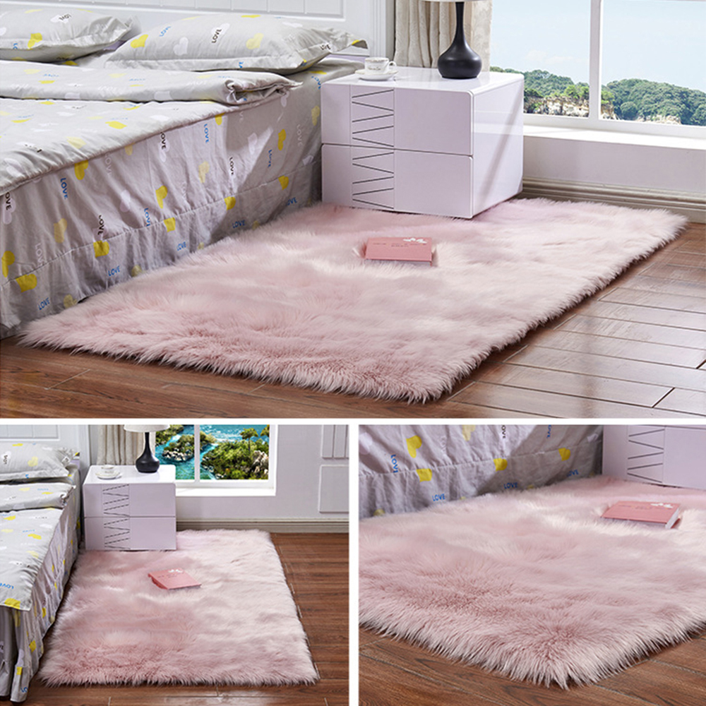 White Faux Fur Rug Plush Carpet Bedside Shaggy Silky Rugs Rectangle Soft Faux Sheepskin Fur Area Rugs For Bedroom Floor