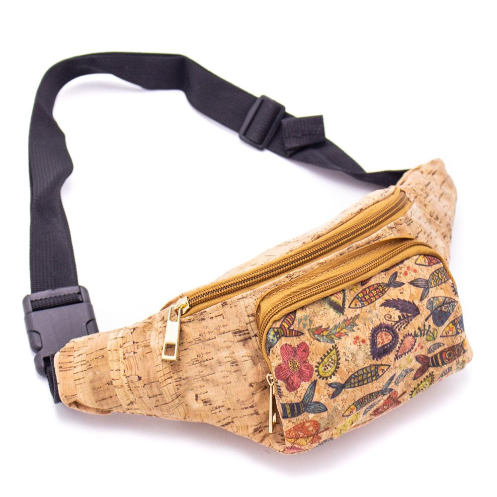 Cork Travel Belt Bag With Printed Pattern And Coin Purse  BAGD-060