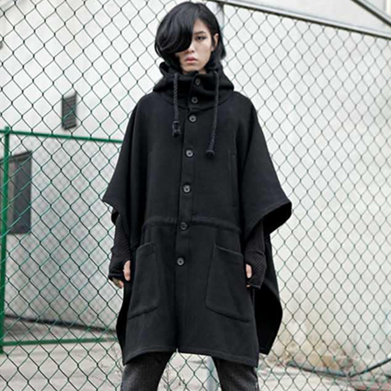 M-4XL dark night club bat shirt hooded cape men's cloak thickened long woolen coat coat