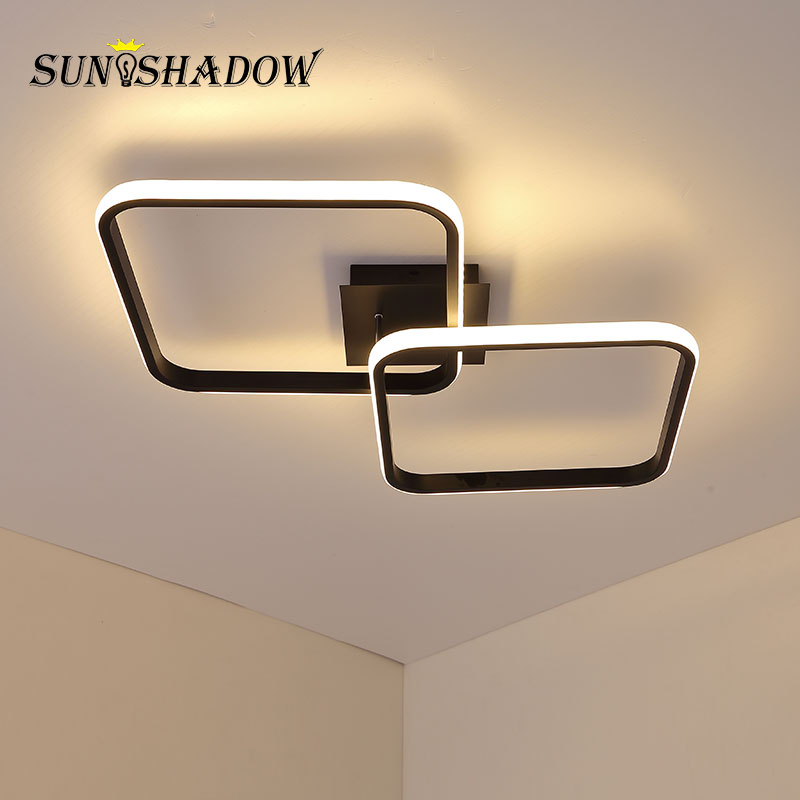 Modern Led Ceiling Light 42W Black Ceiling Lamp For Bedroom Living room Dining room Kitchen Foyer Lighting Fixtures 110V 220V