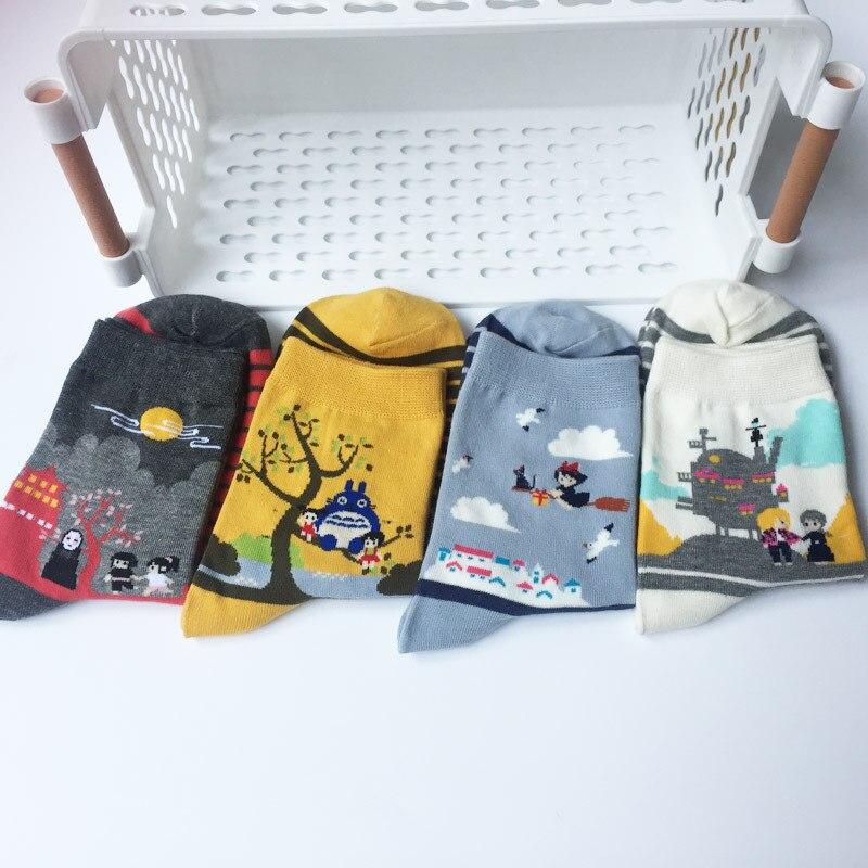 Cartoon Anime Kikis Delivery Service Tonari No Totoro Miyazaki Hayao No Face Women Socks Warm Cotton Funny Cute Kawaii Art Sock