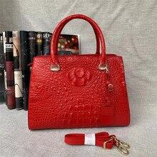 แฟนซีหญิงสีแดงแท็กกระเป๋าแท้จระเข้OLทำงานเลดี้Totesกระเป๋าถือหนังจระเข้แท้กระเป๋าสะพายกระเป๋า