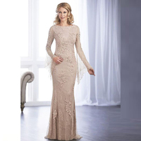 Wholesale Charming Nude Lace Long Sleeve Mother of the Bride Dresses Boat Neck Wedding Party Gowns 2020 New