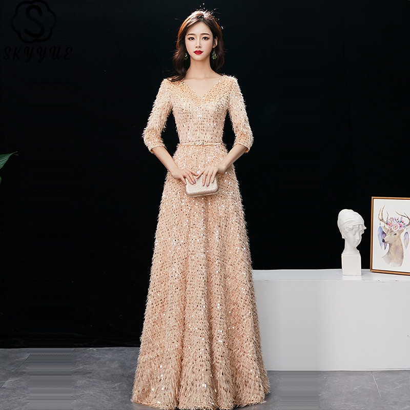 Floor-Length Evening Dress Skyyue K384 Sequined Plus Size V-Neck Special Occasion Dresses Three Quarter Sleeve Robe De Soiree