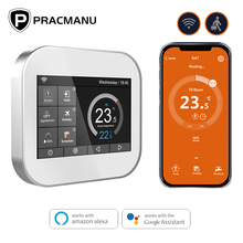 Termostato inteligente Wifi para calefacción de suelo y pared, controlador de temperatura para agua, gas y eléctrica, funciona con Alexa y Google Home