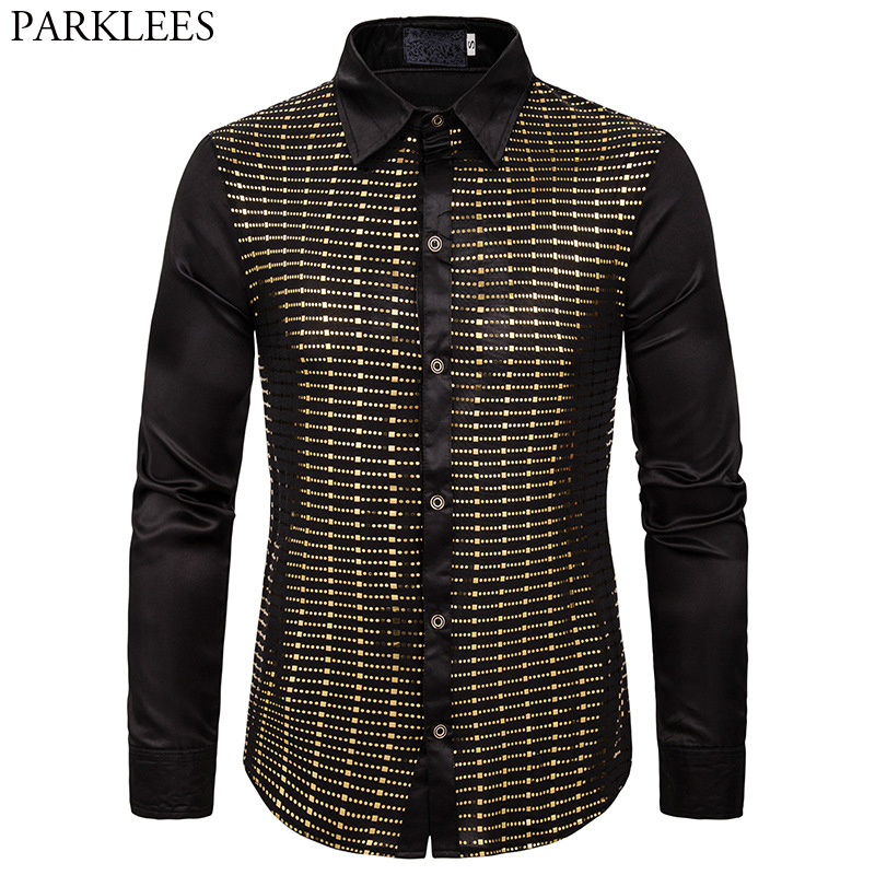 Stylish Men Sparkle Sequins Silk Shirt 2019 Long Sleeve Slim Fit Rave Shirt Men Chemise 1970 Disco Nightclub Party Prom Costume