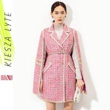 Runway Fashion Roze Cape Tweed Jas Kantoor Dame Vintage Midi Bat Mouwen Mantel Jakcet 2020 Herfst Winter Vrouwen kleding Outfit