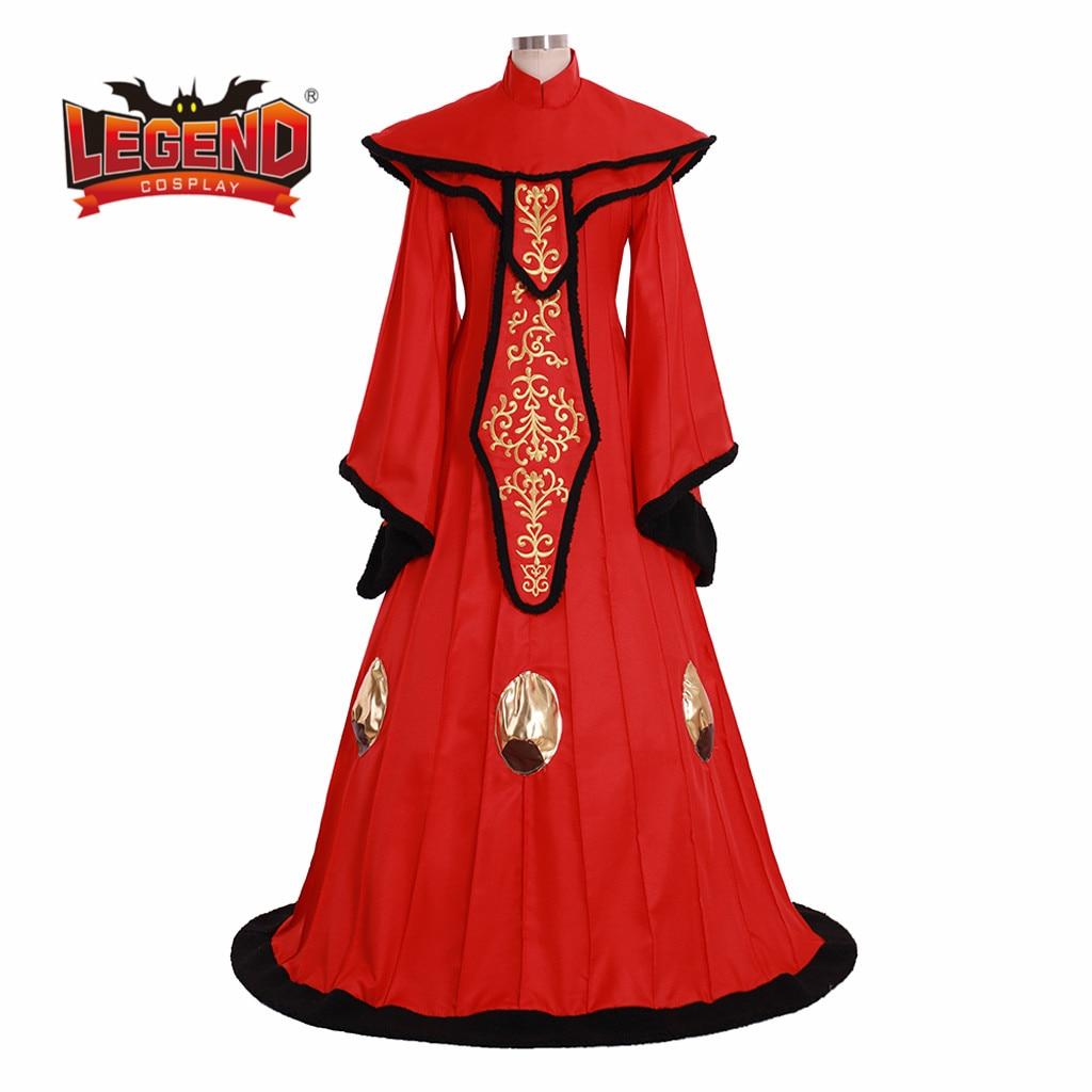 Super Promo The Phantom Menace Cosplay Queen Padme Amidala Dress Costume Red Dress Halloween Robe Cosplay Costume Custom Made November 2020