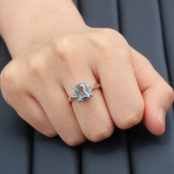 Women Wedding Engagement Light Blue Square Zircon Four Claw Setting Ring Gift for Lover Wife Dazzling Bridal Finger Ring