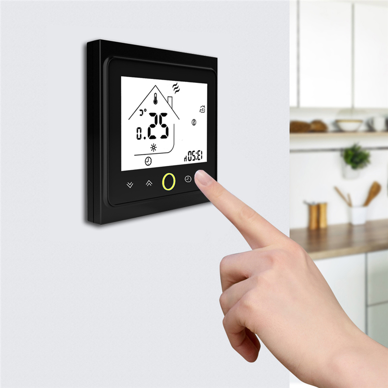 Weekly Programmable Underfloor Heating Thermostat LCD Touch Screen Room Temperature Controller Thermostat With Backlight in Floor Heating Systems Parts from Home Improvement