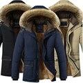 Plus Size 5XL Inverno À Prova de Vento Parkas Homens Sólidos Parkas Homens Jaquetas Casuais Engrossar Casacos de Algodão acolchoado Casaco de Roupas Quentes