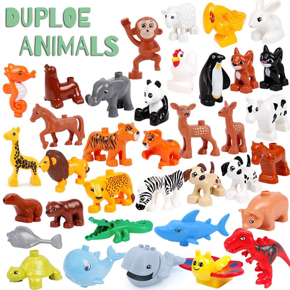 Tamanho grande duploe animais baleia crocodilo selo veados panda iluminação aminal brinquedos para crianças crianças compatível duploed