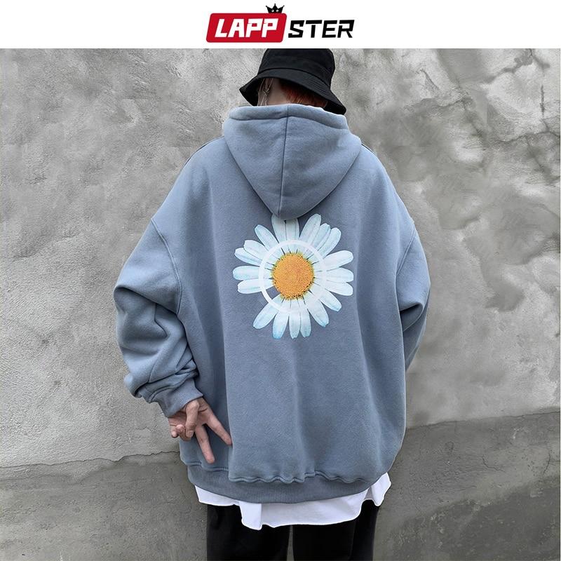 LAPPSTER Men Flower Fleece Hooded Hoodies 2020 Autumn Mens Oversized Korean Fashions Sweatshirts 5 Colors Black Hip Hop Hoodie