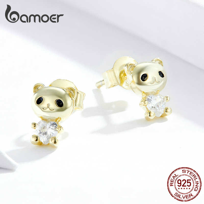 Bamoer real prata 925 jóias brincos para as mulheres bonito urso orelha studs para menina miúdo jóias presentes fasion jóias sce801