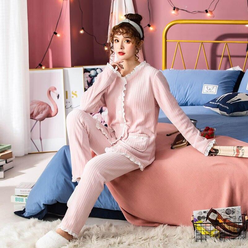 2019 Winter New Ladies Flannel  Pajamas Set Solid Color Sweet Pink Sleepwear 2PCS Set Women Comfort Thick Female Winter Homewear