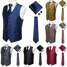 Hi-Tie Solid Blue Suit Vest Mens V-neck Sleeveless Waistcoat Party wedding Tie Beckham Pocket Square Cufflinks