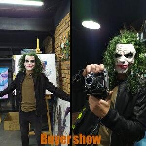 Image 4 - Máscara de Joker película Batman El Caballero Oscuro payaso de terror Cosplay máscaras de látex con Peluca de pelo verde Utilería de miedo disfraz de fiesta de Halloween