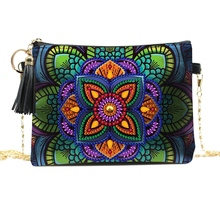 DIY Diamond-Painted Leather Shoulder Cross-Body Chain Bag DIY Shaped Drill Embroidery Bag Wallet Bag flower embroidery pu chain cross body bag