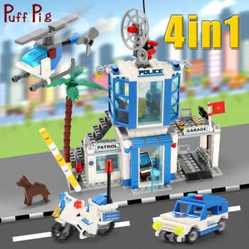 365pcs 4 In 1 Police Station Motorbike Car Helicopter Model Building Blocks City Bricks Educational Toys for Children