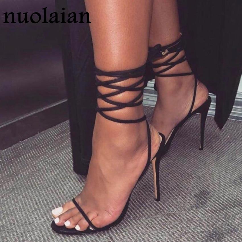 11CM Black Leather Gladiator Shoes Woman Summer Party High Heels Sandal Women Pump Shoe Dress Ankle Strap High Heel Pumps